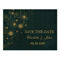 green gold Snowflakes Winter save the Date Postcard
