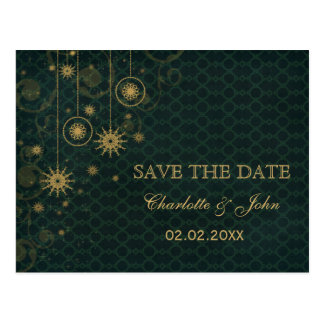 green gold Snowflakes Winter save the Date Post Cards