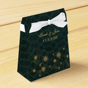 green gold Snowflakes Winter wedding favor box