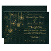 green gold Snowflakes Winter wedding invitations