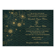 green gold Snowflakes rustic Winter wedding invites by mgdezigns