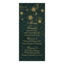 green gold Snowflakes Winter wedding menu cards