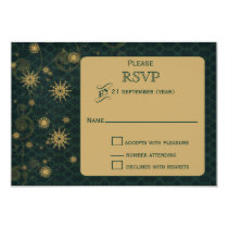 green gold Snowflakes Winter wedding RSVP Card