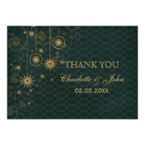 green gold Snowflakes Winter  wedding Thank You Card