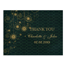 green gold Snowflakes Winter wedding Thank You Postcard