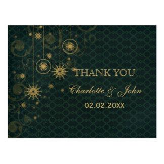 green gold Snowflakes Winter wedding Thank You Postcard