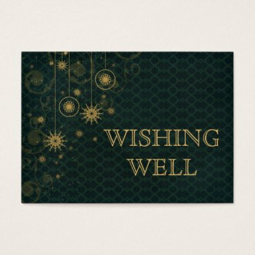 green gold Snowflakes Winter wedding wishing well Business Card