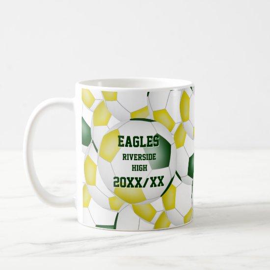 green gold soccer school team colors coach gift coffee mug