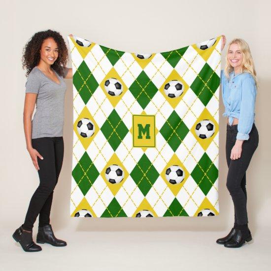 green gold soccer team colors argyle pattern fleece blanket