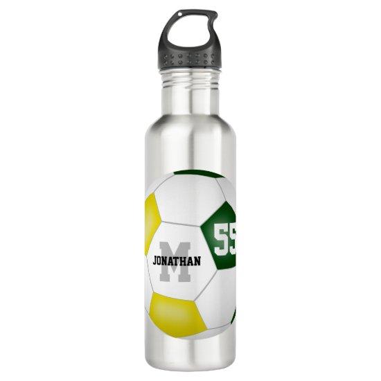 green gold soccer team colors boys girls stainless steel water bottle