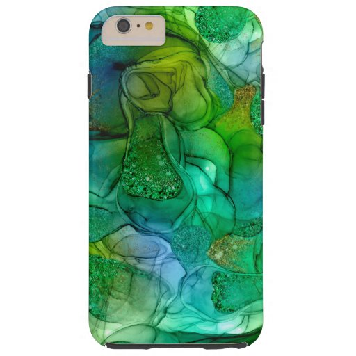 Green gold sparkle dreams iPhone case