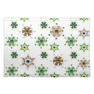 Green & Gold Sparkling Winter Snowflakes Placemat