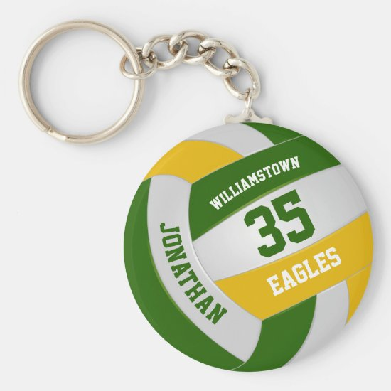 green gold sports team colors boy girl volleyball keychain