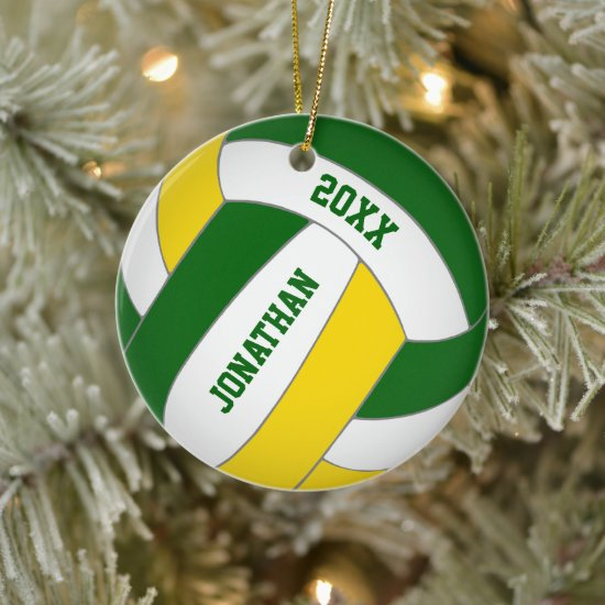 green gold sports team colors boys volleyball ceramic ornament