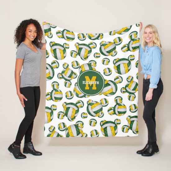 green gold sporty team colors girly volleyball fleece blanket
