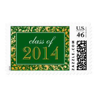 Green Gold Swirl Damask Class of 2014 Graduation Postage Stamp