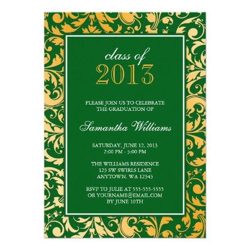 Green Gold Swirl Damask Graduation Announcement