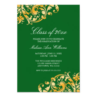 Green Gold Swirl Graduation Party Announcement