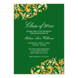 Green Gold Swirl Graduation Party Announcement