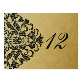 green gold table numbers postcards