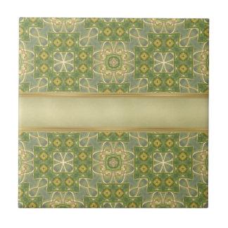 Green Gold Tapestry Ceramic Tile