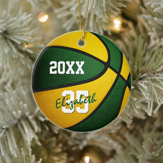 green gold team colors basketball keepsake ceramic ornament
