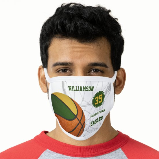 green gold team colors boys girls basketball face mask