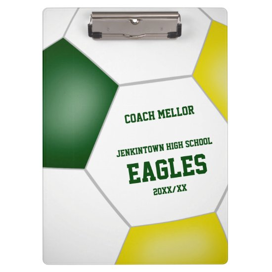 green gold team colors custom soccer coach clipboard