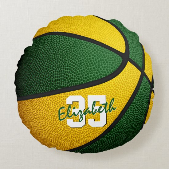 green gold team colors girls boys basketball room round pillow