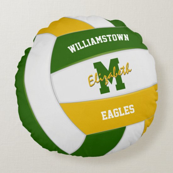 green gold team colors girls volleyball round pillow