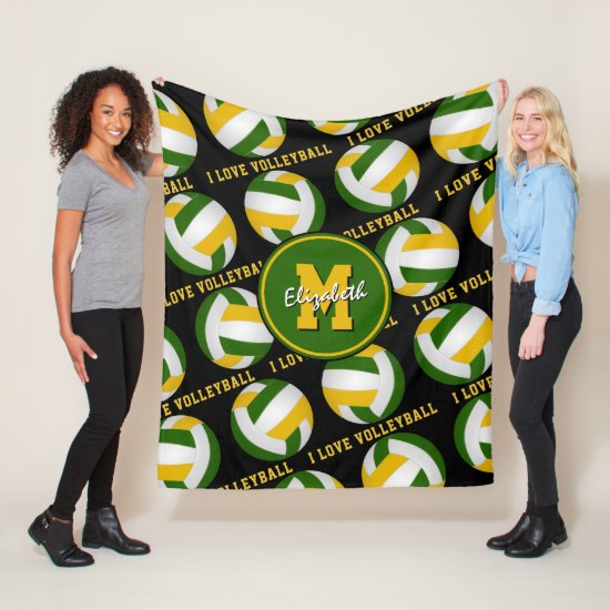 green gold team colors I love volleyball pattern Fleece Blanket