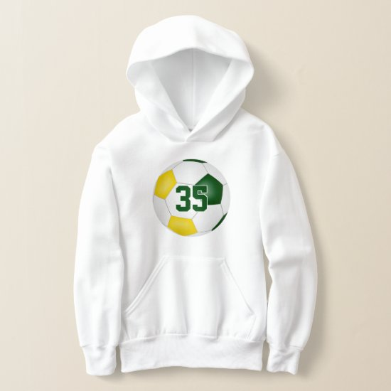 green gold team colors jersey number soccer hoodie