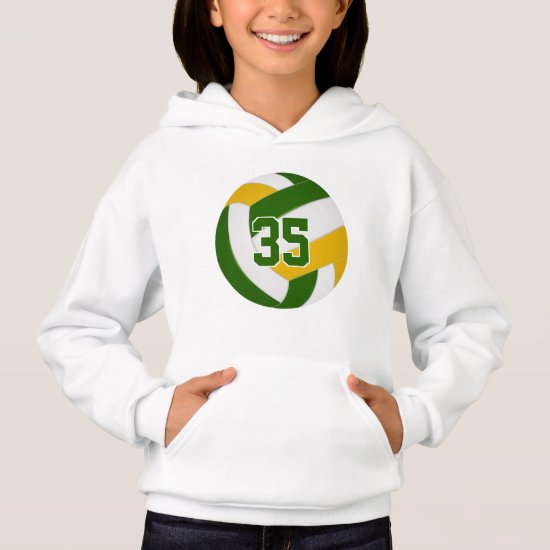 green gold team colors jersey number volleyball hoodie