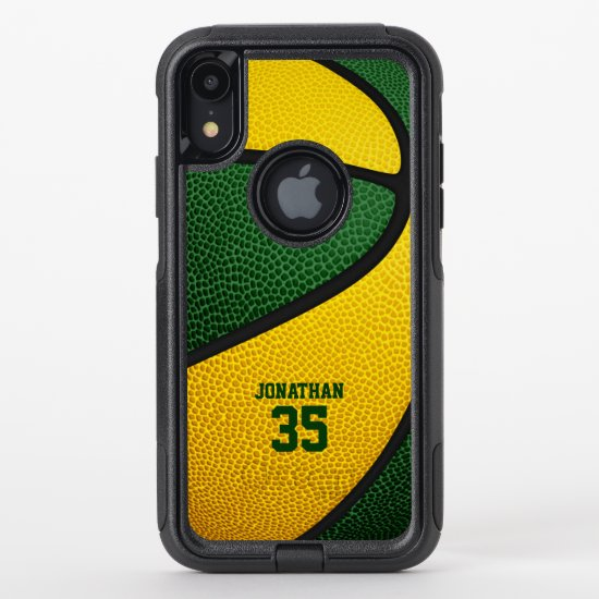 green gold team colors personalized basketball OtterBox commuter iPhone XR case