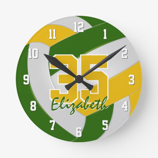 green gold team colors personalized volleyball round clock