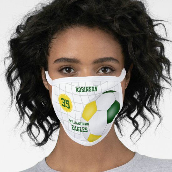 green gold team colors player name soccer face mask
