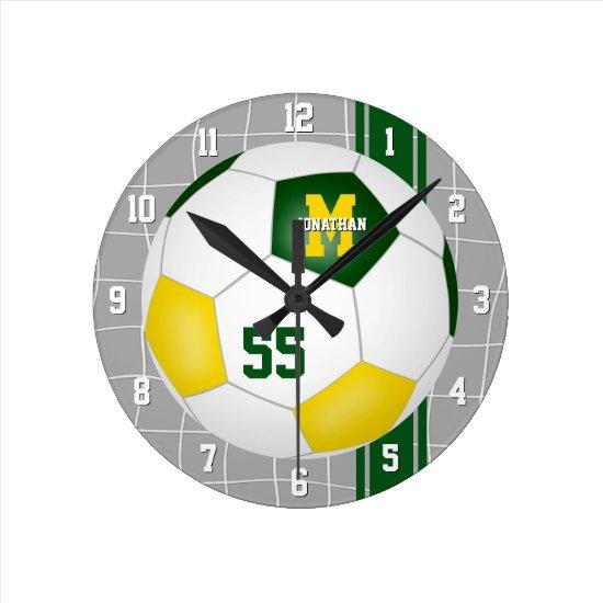 green gold team colors varsity stripes soccer round clock