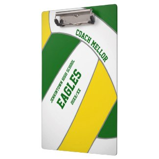 green gold team colors volleyball coach clipboard