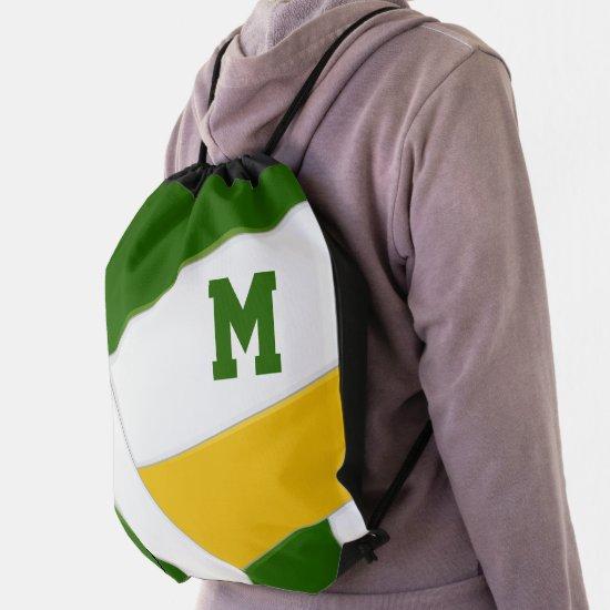 green gold team sports boys girls volleyball drawstring bag