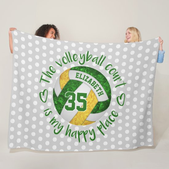 green gold The volleyball court is my happy place Fleece Blanket