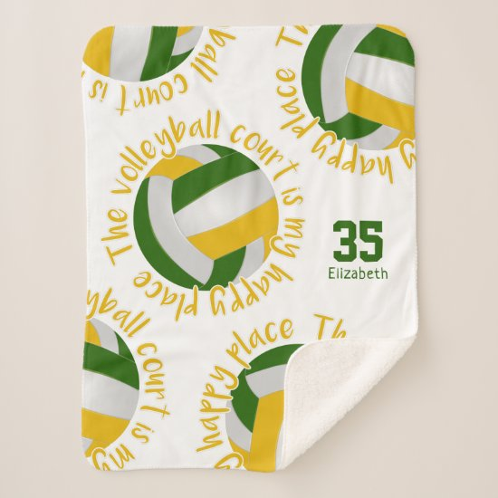 green gold volleyball court happy place typography sherpa blanket