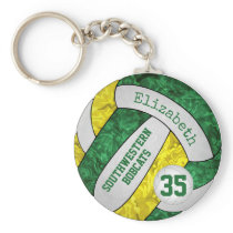 green gold volleyball keychain w school team name