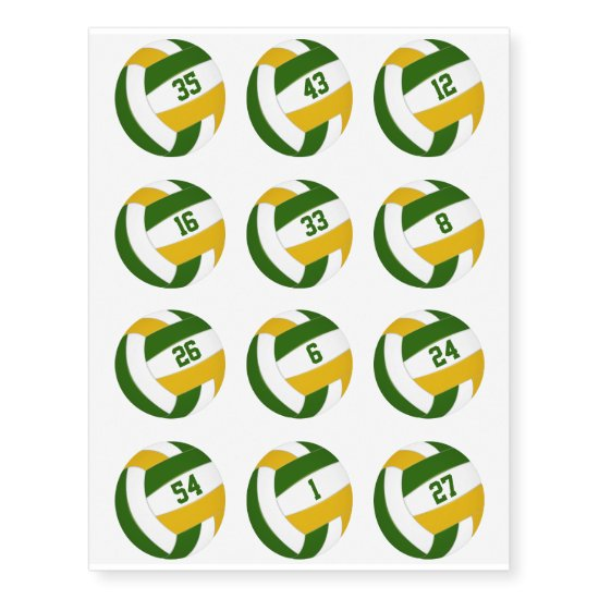 green gold volleyballs w jersey numbers set of 12 temporary tattoos