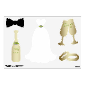 GREEN GOLD WEDDING THEME WALL DECALS