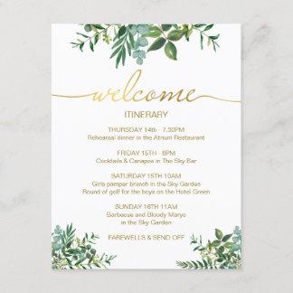 Green & gold wedding weekend Itinerary card. Enclosure Card