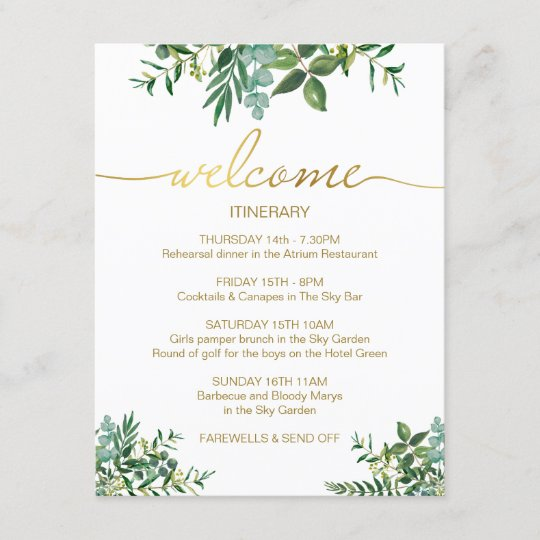 green gold wedding weekend itinerary card