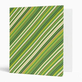 Green Gold White Diagonal Stripe Binders