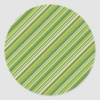 Green Gold White Diagonal Stripe Classic Round Sticker