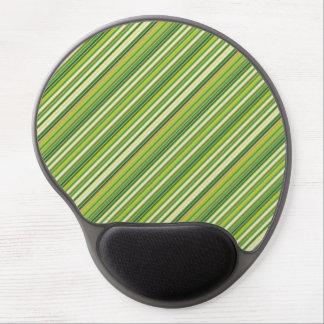 Green Gold White Diagonal Stripe Gel Mousepad