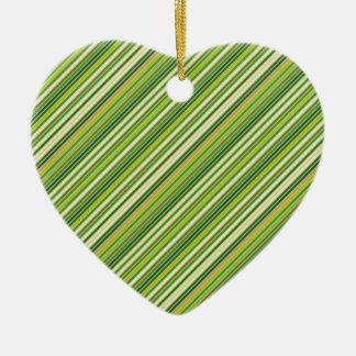 Green Gold White Diagonal Stripe Ceramic Heart Ornament